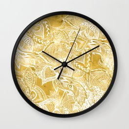 Modern lemon curry watercolor floral hand drawn pattern Wall Clock