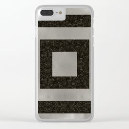 Silver Squares Clear iPhone Case