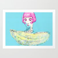 karl lagerfeld Art Prints featuring Fashion - Japanese, Karl Lagerfeld and Chanel by Smog