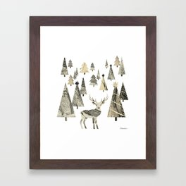 Winter Woods, collage Framed Art Print