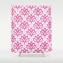 Pink Art Deco Floral Damask Shower Curtain