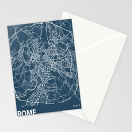 Rome Blueprint Street Map, Rome Colour Map Prints Stationery Cards
