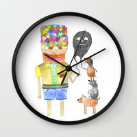 good omens Wall Clocks featuring Omens by Dennis Pomales