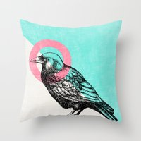 techno Throw Pillows featuring Techno Crow by Zeke Tucker