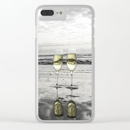 Champagne Cheers by the Ocean Clear iPhone Case