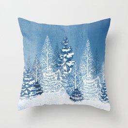 Blue Snow Trees Throw Pillow