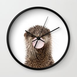 Bubble Gum Baby Otter Wall Clock