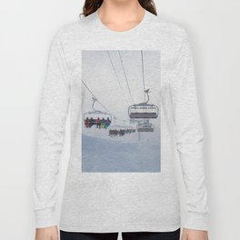 Skiers on chairlift, Alps Long Sleeve T-shirt
