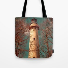 Grosse Point Lighthouse From The Dunes Evanston Illinois Light Station Tote Bag