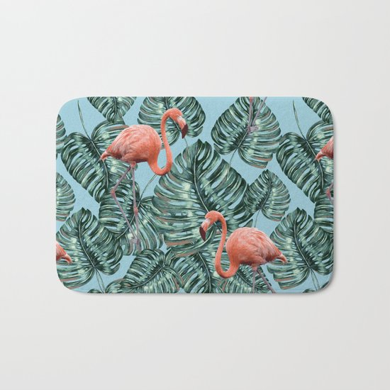 Whimsical Flamingo Pattern #society6 #decor #buyart Bath Mat