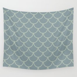 Blue Neutral Green Fish Scales Pattern Wall Tapestry