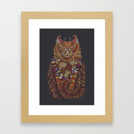 Maine Coon Cat Totem Framed Art Print