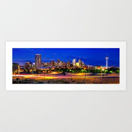 Denver Colorado Skyline Panorama Over the Speer Boulevard Bridge Art Print