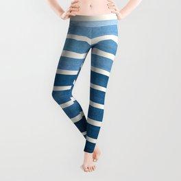 Watercolor Gouache Mid Century Modern Minimalist Colorful Green Blue Stripes Leggings