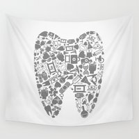 tooth Wall Tapestries featuring Tooth by aleksander1