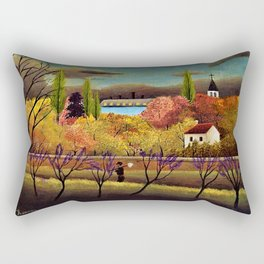 Classical Masterpiece 'Landscape with Farmer' by Henri Rousseau Rectangular Pillow