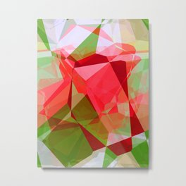 Red Rose Edges Abstract Polygons 2 Metal Print
