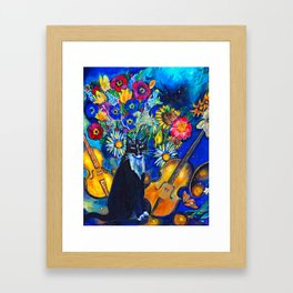 Cat and String Instruments Framed Art Print