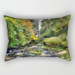 Pistyll Rhaeadr Waterfall , North Wales, United Kingdom, landscape Photography Rectangular Pillow