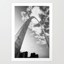 Architectural Saint Louis Arch and Skyline in Black and White Art Print