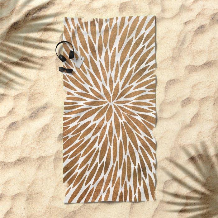 Rose Gold Burst Beach Towel