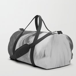 A Puppy Saying Hello Light Black and White Duffle Bag