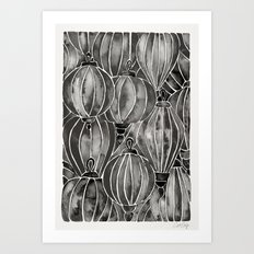 Black Vietnamese Lanterns Art Print