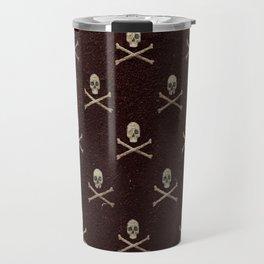 Skulls & Crossbones - Maroon Travel Mug