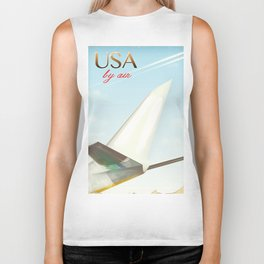 USA By Air vintage travel poster Biker Tank