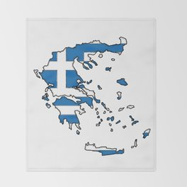 Greece Map with Greek Flag Throw Blanket