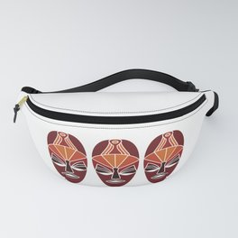 African traditional tribal mask in sunset colors Fanny Pack