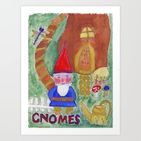 gnome Art Prints featuring Gnome by caraemoore