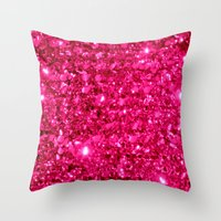sparkle Throw Pillows featuring SparklE Hot Pink by 2sweet4words Designs