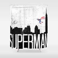 superman Shower Curtains featuring Superman by Nate Compton