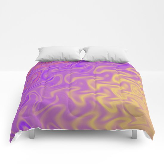 Ripples Fractal in Tropical Punch Comforters