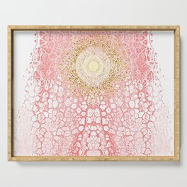 Chakra Sun River - Living-Coral Fluid Glitter Serving Tray