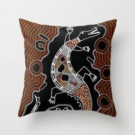 Aboriginal Crocodile Authentic Aboriginal Art Throw Pillow