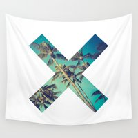 palm trees Wall Tapestries featuring Palm Trees by Zavu