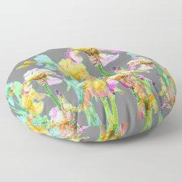 YELLOW BUTTERFLIES SPRING  IRIS GARDEN ART Floor Pillow