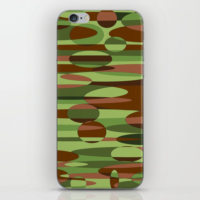 Trendy Green and Brown Camouflage Spheres iPhone Skin