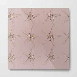 Rose gold starfish Metal Print