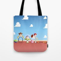 toy story Tote Bags featuring TOY STORY by Ana Xoch Guillén
