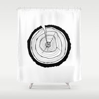 tree rings Shower Curtains featuring Tree Rings by Kristy Ann