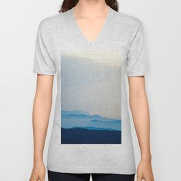 Minimalist Landscape Blue Mountain Parallax Unisex V-Neck