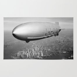 Airship Flying Over New York City Rug