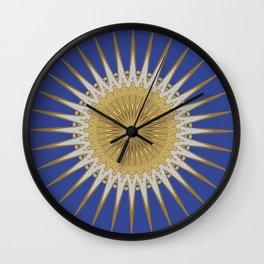 Bright Blue Gold Star Mandala Wall Clock
