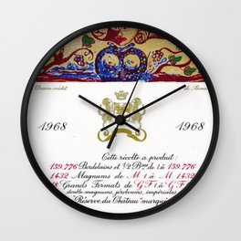 Vintage 1968 Chateau Rothschild Wine Bottle Label Print Wall Clock