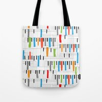 piano Tote Bags featuring piano by mondebettina