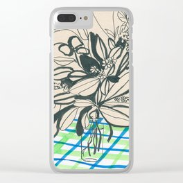 Flowers at the framhouse cafe -line drawing leaves #6 Clear iPhone Case