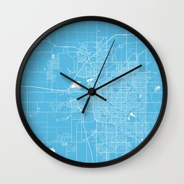 Lincoln map blue Wall Clock